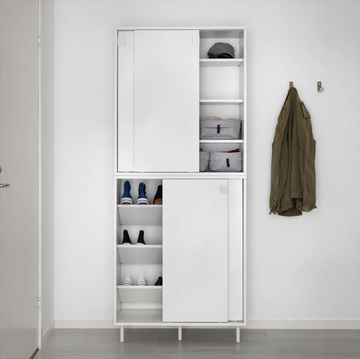 The cabinets can be stacked two high for additional storage. Interior shelves can be placed flat (seen on top) or angled (seen on bottom).