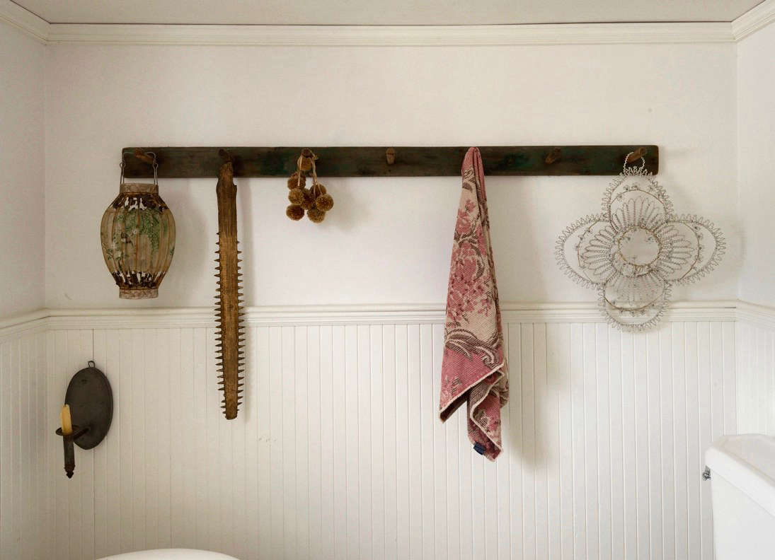 Designer John Derian adorned the walls of his Provincetown bathroom witha vintagesawfish snout, among other ephemera. See Bathroom of the Week: John Derian's Homage to Old Cape Cod. Photograph by Matthew Williams.