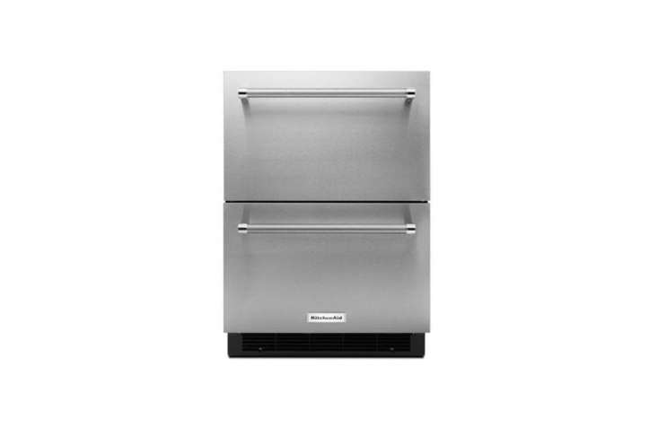 Under-counter refrigerator drawers incorporate well into kitchen islands. The KitchenAid -Inch Stainless Steel Double Refrigerator Drawer is $