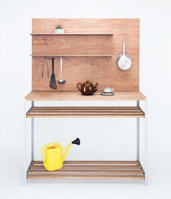 Lodge Furniture for the Urban Rustic from SNARK Japan Instant camp kitchen or potting station, the Steel Series Board Shelfcomes equipped with versatile pegboard, hooks, and shelves;¥64,800 (\$584.08).