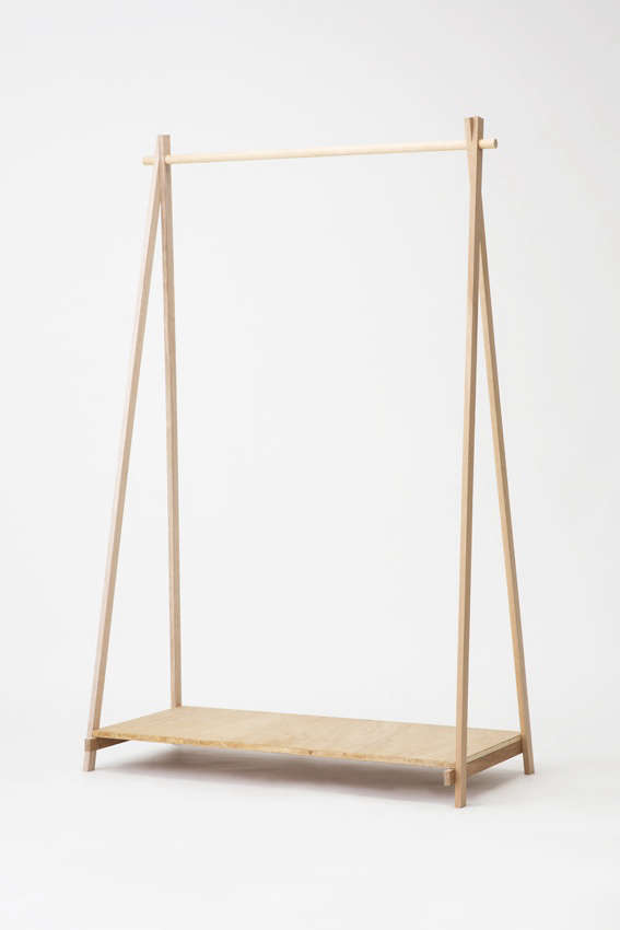 Lodge Furniture for the Urban Rustic from SNARK Japan Made from wood, Lodge&#8\2\17;s Lauan Series HangerRackis shipped flat in four easily assembled pieces;¥\14,040 (\$\1\26.55).