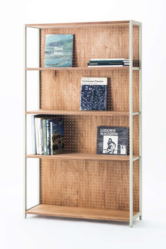 Lodge Furniture for the Urban Rustic from SNARK Japan This adjustable Ladder Shelf is made from steel with a pegboard back;¥38,880 (\$350.45).