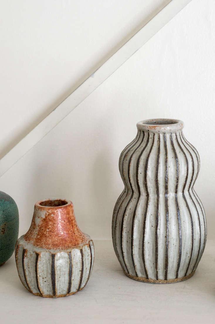 two black line vases by malinda. 13