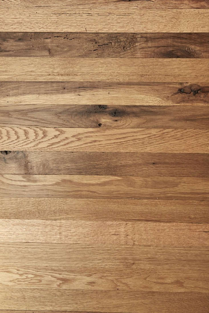 a detail of the reclaimed new face oak flooring used in the bedroom shown above. 15