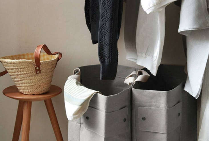 Envelope An Online Superstore for Japanese Goods The Uashmama Laundry Bag is made of \100 percent cellulose and comes in white and gray. It&#8\2\17;smade of two bags (for lights and darks) thatsnap together; \10,044 JPY (\$89).