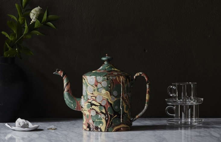 Hand-formed from brown terracotta clay witha marbleized glaze, the Gaston Teapot is priced at 4,699 SEK ($556 USD) at Artilleriet in Sweden (it&#8