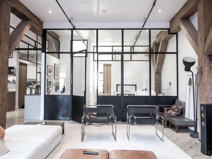 black modern steel interior windows amateur living room