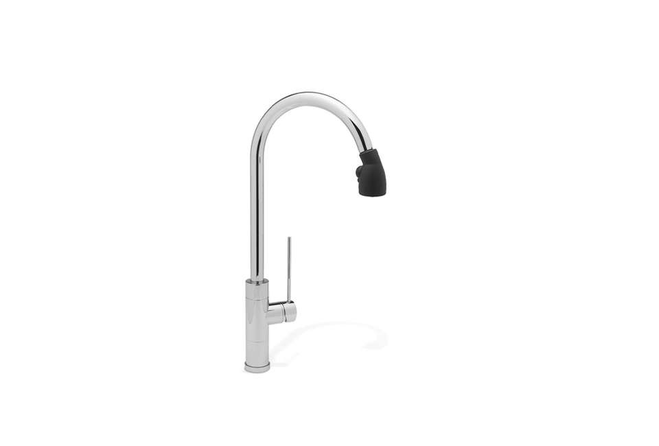 Givone used the Blanco Rados Pro Kitchen Faucet with Black Sprayer Head at both sinks in the kitchen. It&#8
