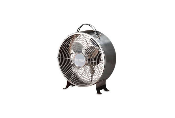 thedeco breeze round retro table fan is encased in a stainless steel shell an 14