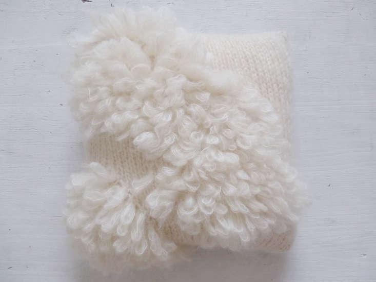 thebloma mohair pillow, made of kapok fiber, has textural loops of mohair; \$ 14