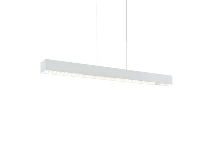 The Eglo Collada LED White Pendant Light is $7 at JD Lighting. Other options are the Dobson Linear Pendant Light by Tech Lightingand the Pipeline 40 Linear LED Pendant Light both at YLighting.