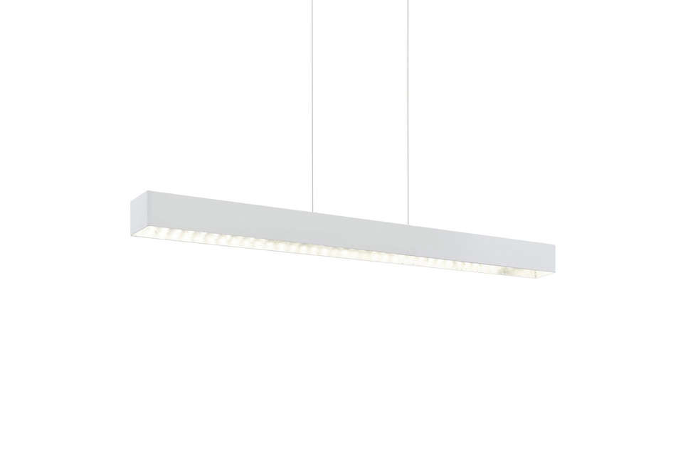 The Eglo Collada LED White Pendant Light is $7 at JD Lighting. Other options are the Dobson Linear Pendant Light by Tech Lighting and the Pipeline 40 Linear LED Pendant Light both at YLighting.