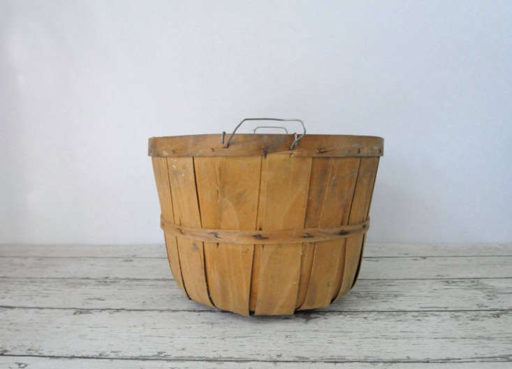 Source a vintage bushel (apple picking) basket on Etsy like this Vintage Split Wood Bushel Basket for $ from Page Scrappers in Indiana. You can also source a new one at Retail Resource.