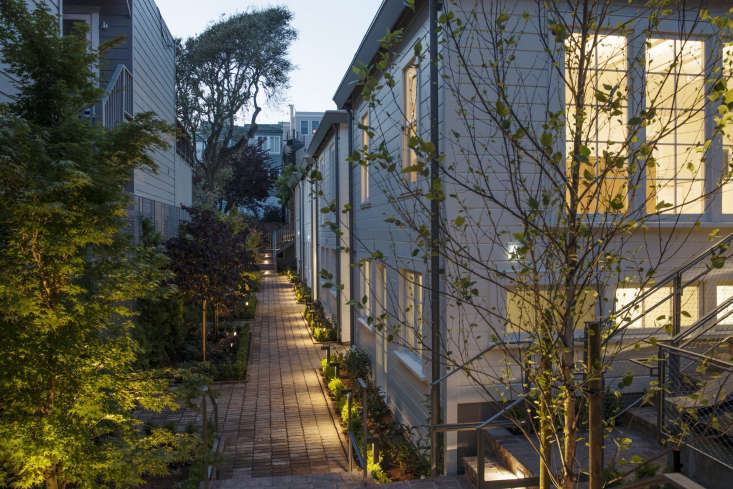 exterior filbert cottages san francisco rehab nighttime