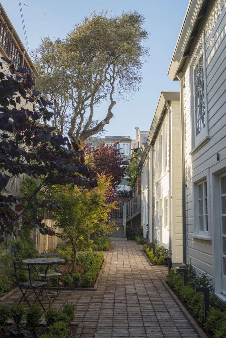 exterior garden filbert cottages san francisco brick path landscape