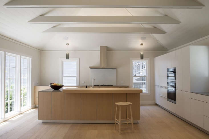 A kitchen with cathedral ceilings and shiplap paneling in San Francisco&#8