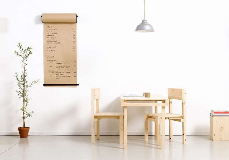 After coming acrossadiscarded roll of kraft paper, the designers mountedit on their studio wall for making lists and sketches. It proved so useful that they produceda finished version: See Blank Slate: Wall-Mounted Kraft Paper.