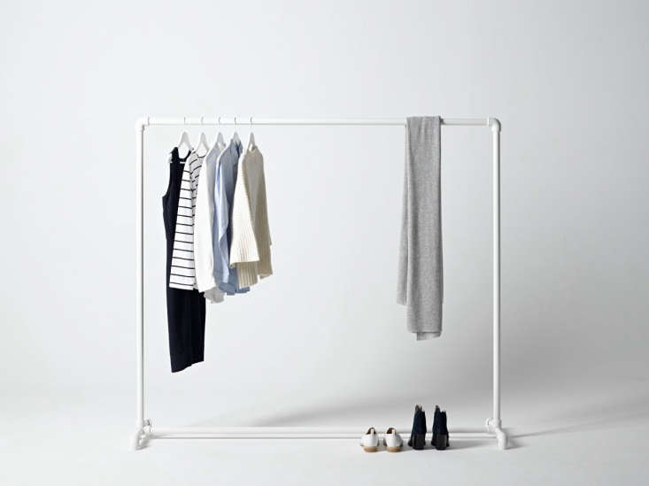 The George & Willy Commercial Clothing Rack, $0 USD, is composed ofsteel piping and socket clamps. It&#8