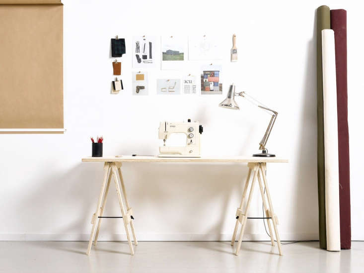The George & WillyProject Trestle Desk is madeof architectural grade plywood; $7 USD. Locking slots hold the tabletop in place and the trestles are securedwith black yachting rope. This design is only shipped within New Zealand and Australia.