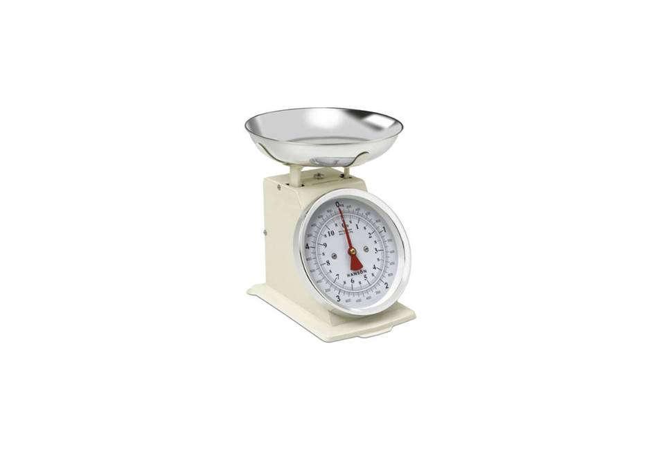 The Hanson Cream Mechanical Scale is $.56 on Amazon.
