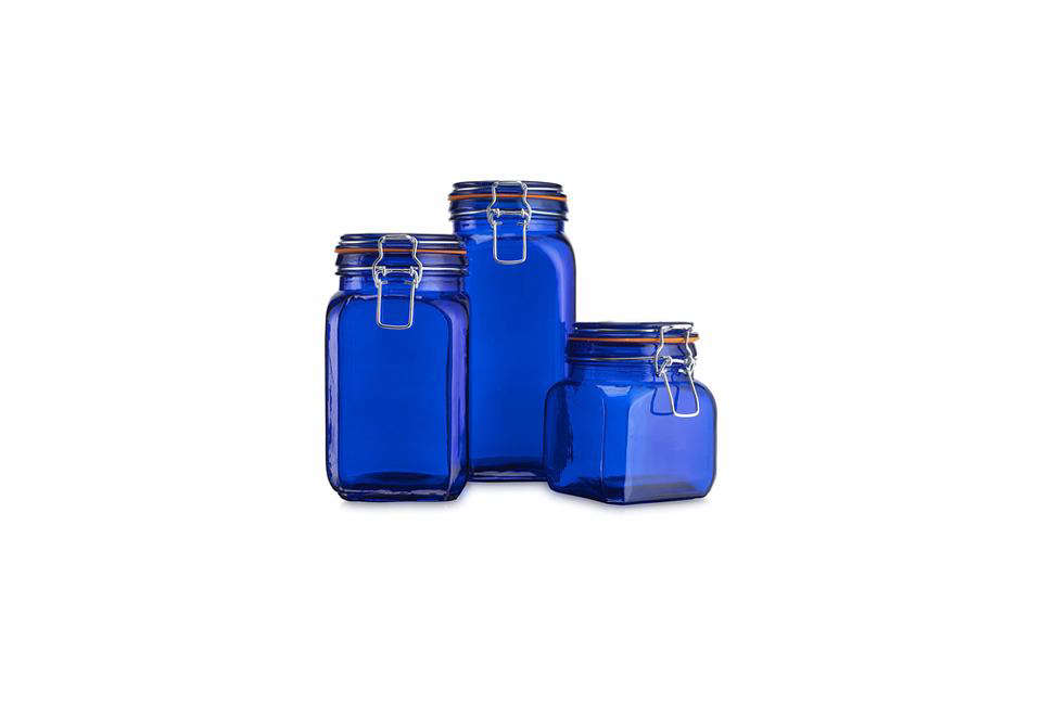 A Set of Three Airtight Blue-Colored Glass Canisters from HC are $34.99 on Amazon.