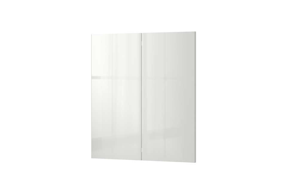 The kitchen cabinets areRinghult Cabinet Doors in gloss white from Ikea; $9 for the two-door cabinet set.