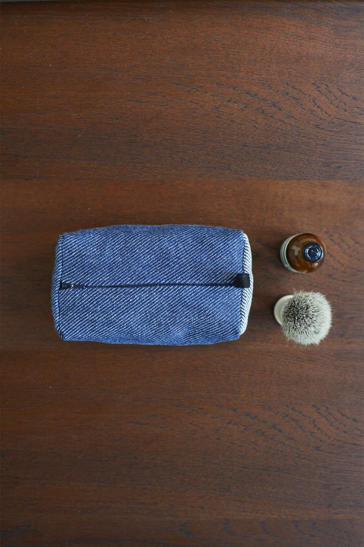 the collection also includes travel bags, including this indigo cotton oblong w 13