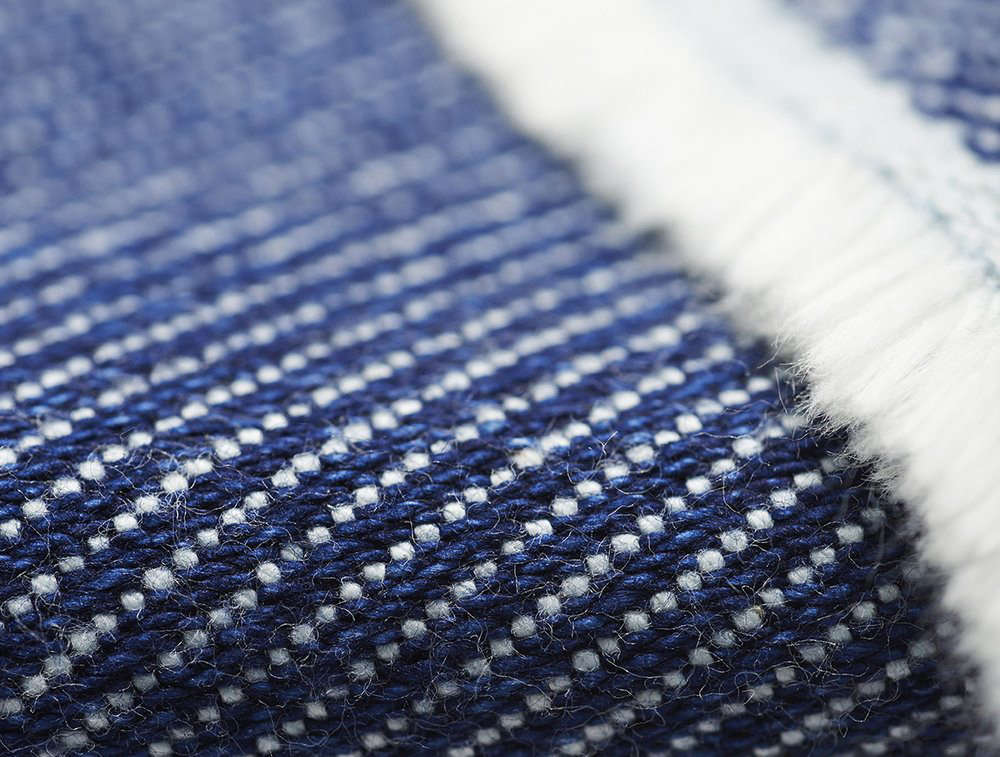 A detail of the indigo side shows the textured weave.