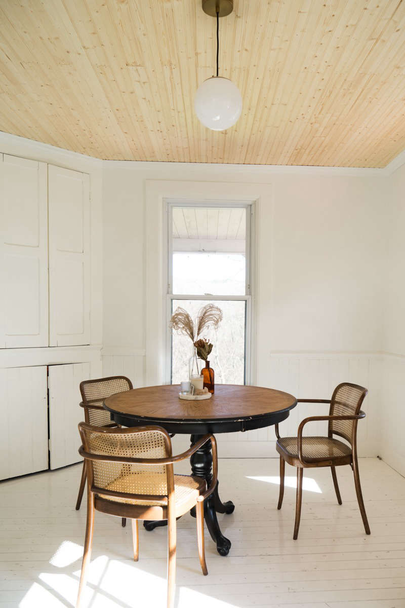 Lisa Przystup added unpainted beadboard to the ceiling in her Catskills farmhouse dining room. (See The Catskills Farmhouse of Two Brooklyn Creatives, Weekend DIY Edition.) Photograph by April Valencia.