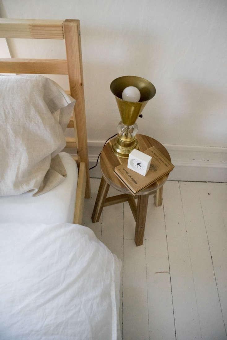 bedside, a vintage copper lamp. 23