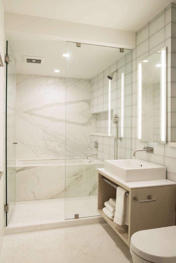 marble bath inside shower rehab cottage ground floor