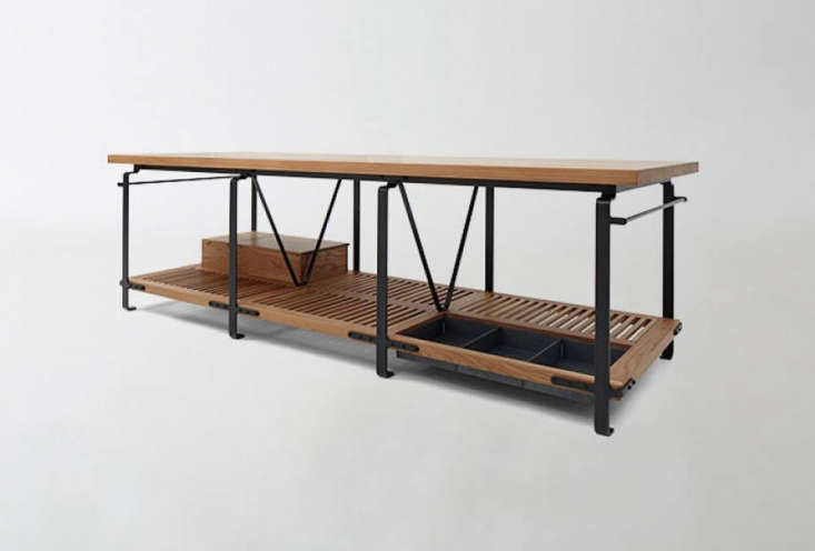 TheMarch Worktable by woodworker Matt Bear ofUnion Studioin Berkeley, California, is available at March. It's made of solid white oak witha steel frame and has a towel rack on each end and a zinc dry storage bin.