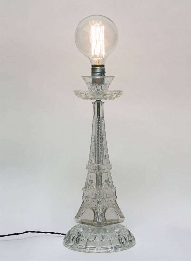"""TheVerre de Passé (""""glass of the past"""") Table Lamp is made of a cut crystal cup, saucers, and a glass Tour Eiffel bottle."""