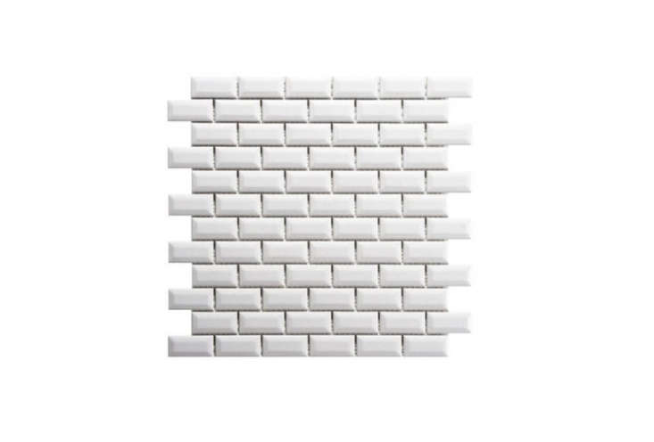 Merola Tile Metro Beveled Subway Tile in Glossy White is $8. per square foot at the Home Depot.