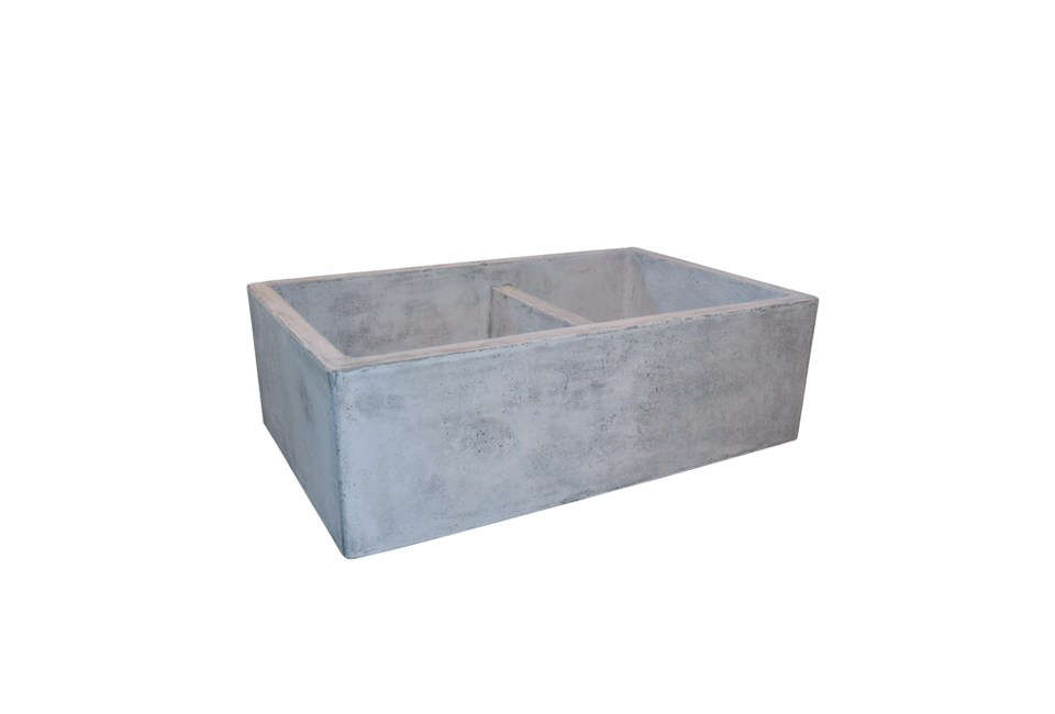 Givone found the concrete utility sink in the basement of a neighboring farmhouse and bought it from the neighbor. The sink has the original ribbing for scrubbing clothes. If it weren&#8