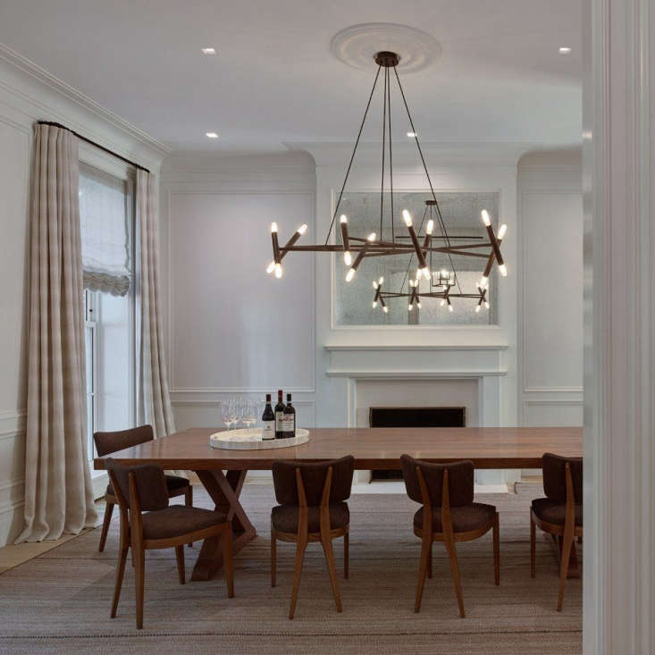In a recent Brooklyn Heights project, Dana installed two sets of Lutron shades in the dining room—one sheer, to filter light, and an opaque set for privacy. Photograph by Joe Kitchen.