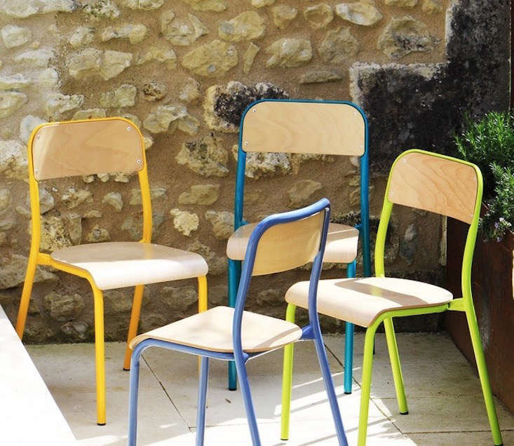 the french house makes a line of \1950s style french school chairsin colors f 10