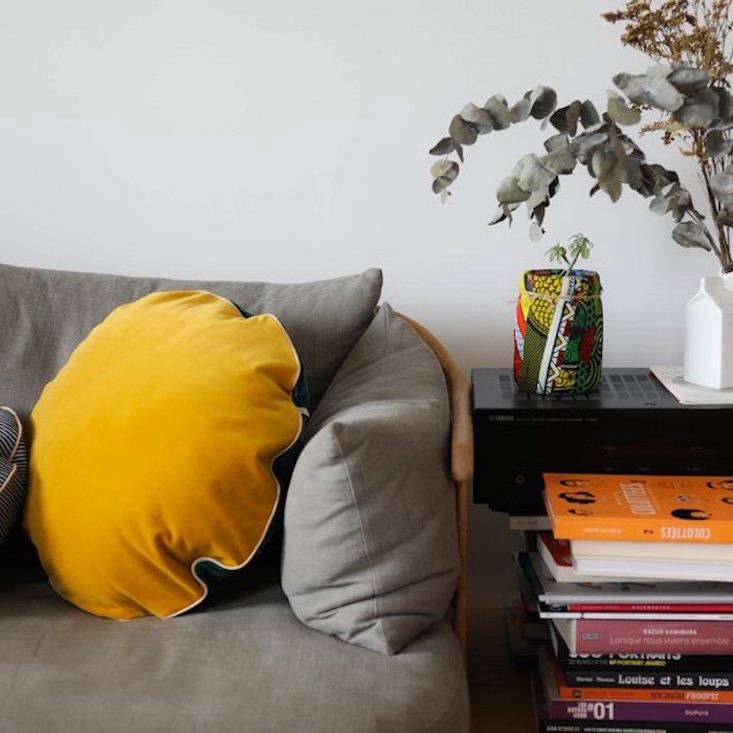 VintageInspired Furniture Reimagined in Color TheLarge Round Rio Cushion is one of many cushion sizes and color/print combinations that the line has. It&#8\2\17;s made of velvet in green and yellow, one color on either side; €85 (\$97).