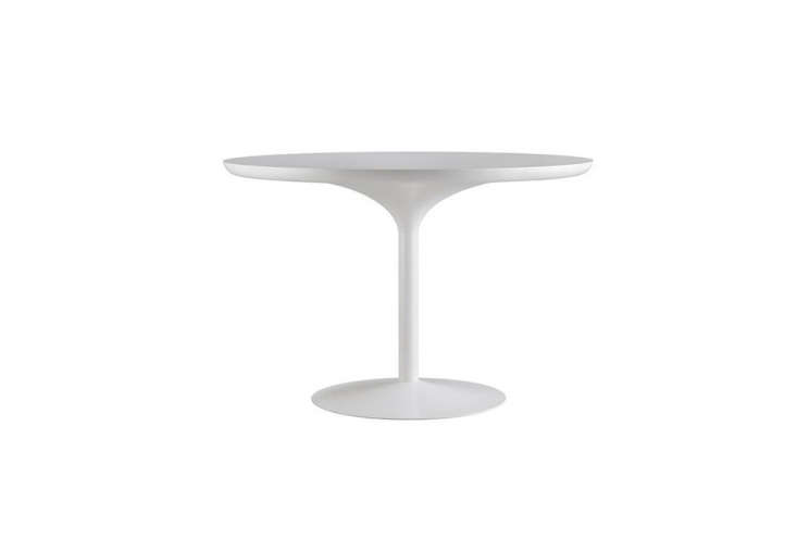 The Verner Panton Table has a tabletop mounted on a steel cone; $3,0 at the Danish Design Store.