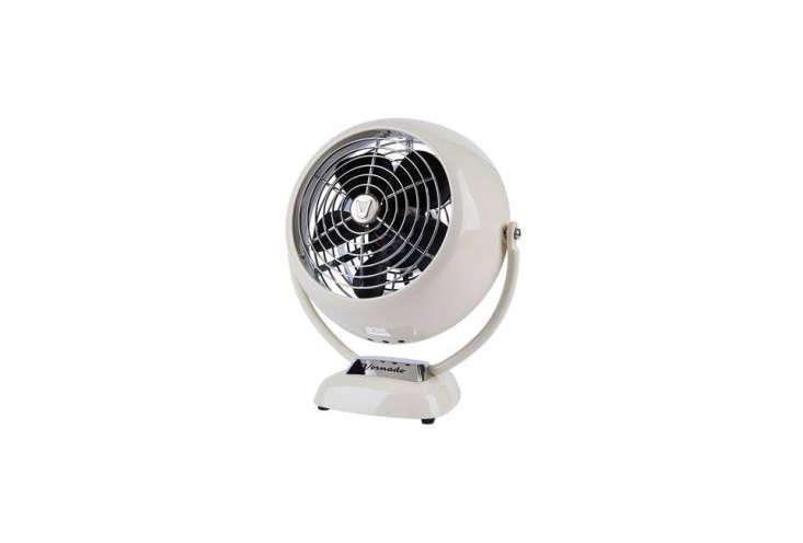 the vornado v fan chrome table fan, shown in vintage white, is \$79 at rejuvena 10