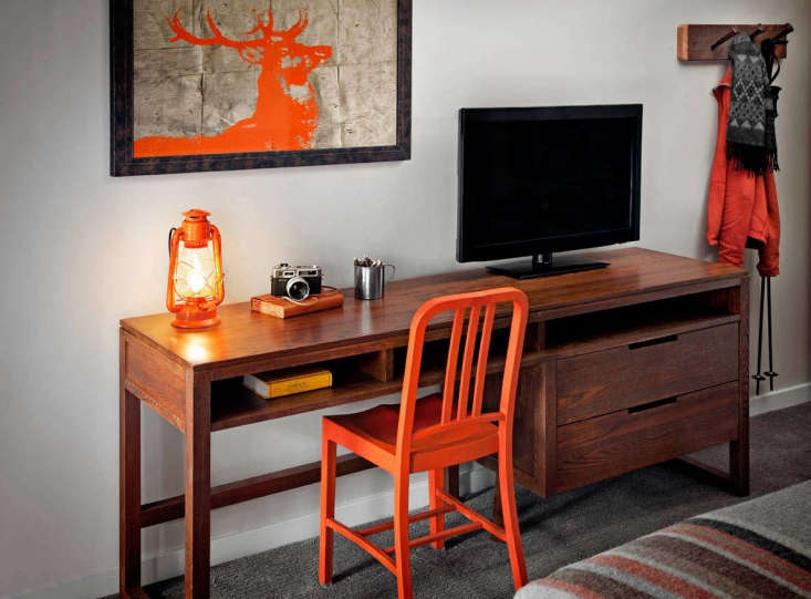 Steal This Look CampStyle Bedroom with Bold Color The Safety Orange theme continues.