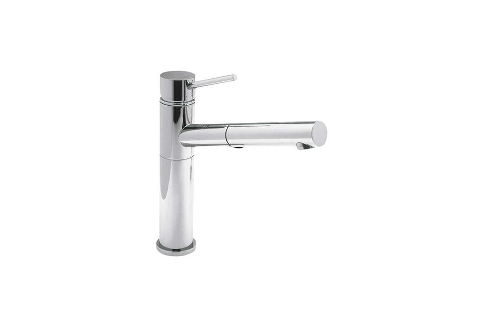 Tim Whitehill of Alterstudio recommends the Blanco Alta Single Lever Faucet at the lower end of the price range; $7.87 at Quality Bath.