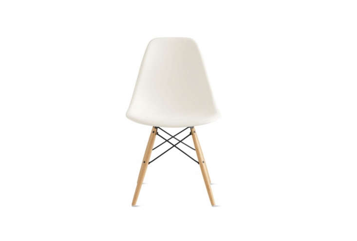 the eames molded plastic dowel leg side chair starts at \$439 at design within  23