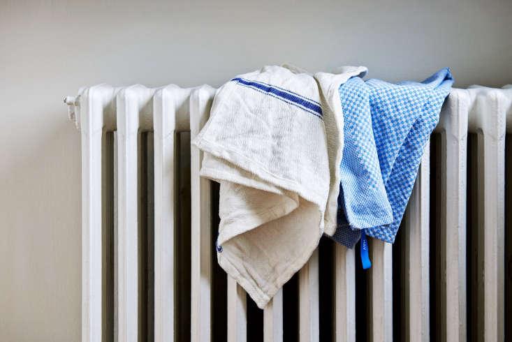 a cottontea towel in blue check (right). 21