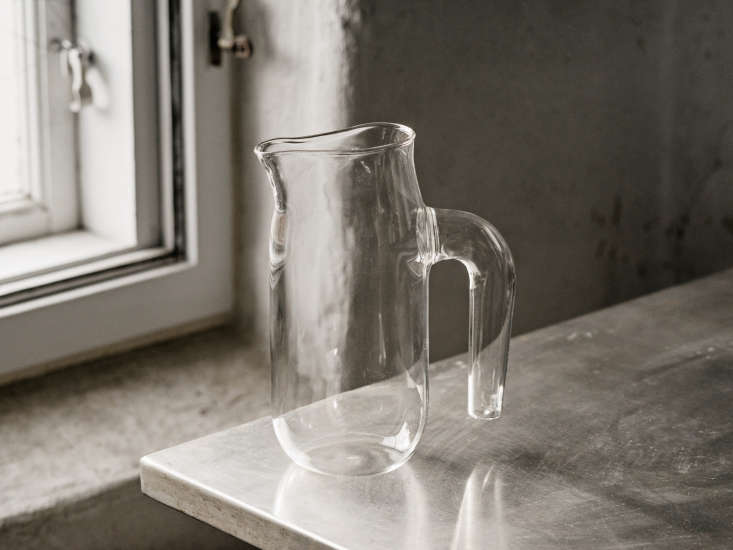 glassware created by german glassblower jochen holz for hay; the clear jug is a 14