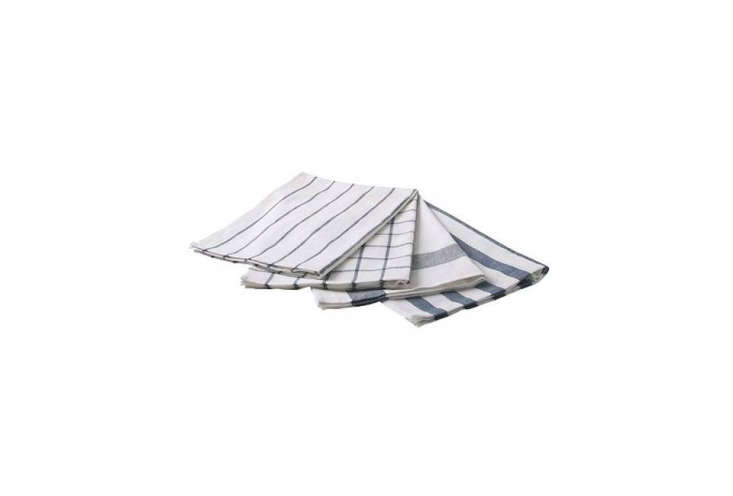 theelly dish towel in blue and white is \$3.99 for a set of four at ikea. 25