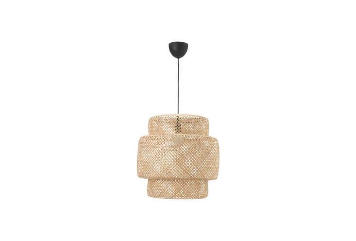 The Ikea Sinnerlig Pendant Lamp in woven bamboo is $69.99.