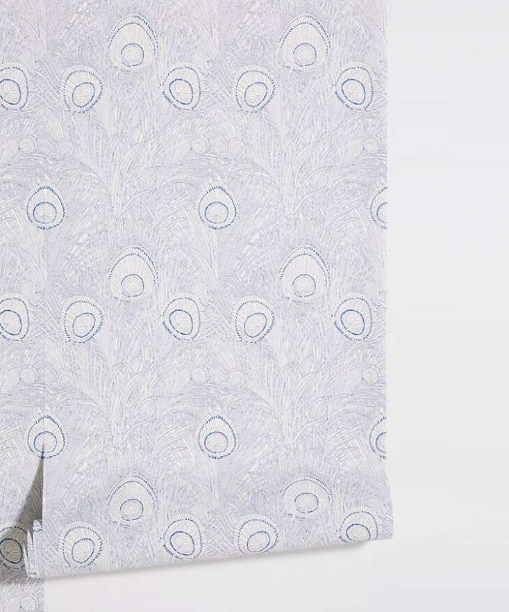 theliberty london hebe wallpaper is printed in pale blue feathers; \$\2\28 fo 12