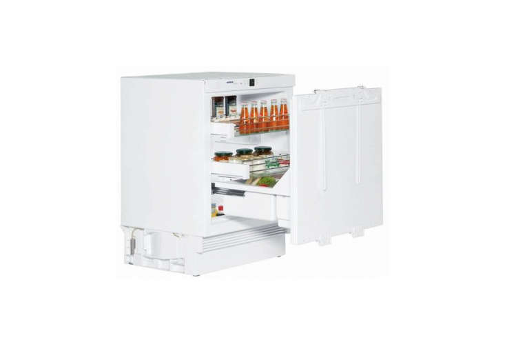 The refrigerator is the Liebherr Undercounter Panel-Ready Refrigerator Drawer, integrated into the kitchen island; $