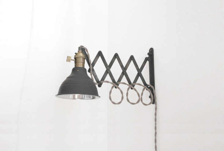 industrial scissor wall lamps were sourced from etsy seller long made co. of ho 21